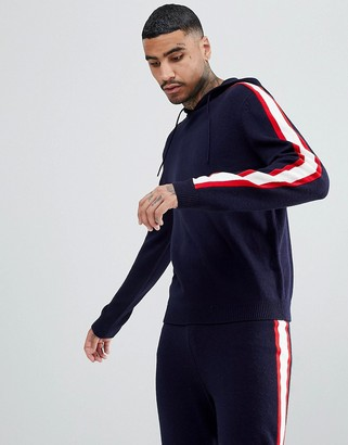 Asos Design Knitted Two-piece Hoodie With Side Stripe In Navy