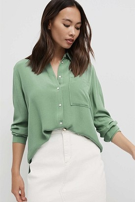 Witchery Gather Sleeve Button Through