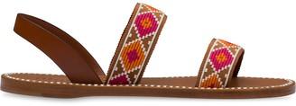 Miu Miu Crystal-Embellished Geometric Print Sandals