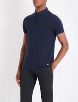 BOSS ORANGE Speckle-pattern trimmed cotton-piqué polo shirt