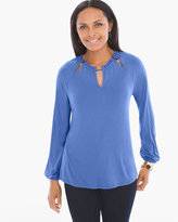 Chico's Peek-a-Boo Peasant Top