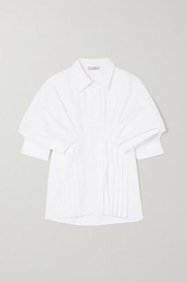 Nina Ricci Gathered Pintucked Poplin Blouse - White