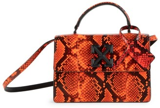 Off-White Jitney 1.4 Snakeskin-Embossed Leather Top Handle Bag