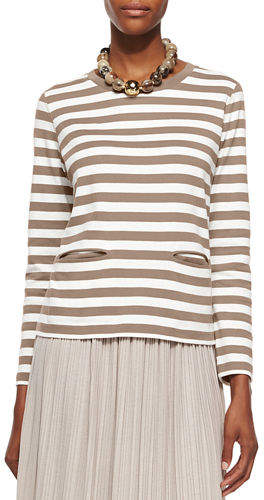 Joan Vass Petite Long-Sleeve Striped Top