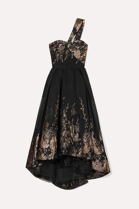 Marchesa One-shoulder Metallic Fil Coupe Cloque Gown - Black