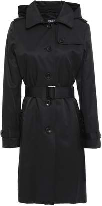 DKNY Belted Cotton-blend Twill Hooded Trench Coat