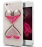 Urberry Iphone 7 Case, Clear Gel Liquid Case, Sparkle Love Heart, Creative Design Flowing Liquid Floating Luxury Bling Glitter Sparkle Hard Case for 4.7 inch iPhone 7 with a Screen Protector