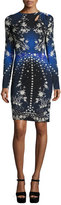 Roberto Cavalli Floral & Star Long-Sleeve Sheath Dress, Blue