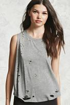 Forever 21 FOREVER 21+ Distressed Raw-Cut Tank Top