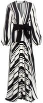 Silvia Tcherassi Filomena Striped Puff-Sleeve Silk Maxi Dress