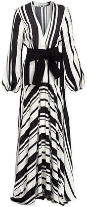 Silvia Tcherassi Filomena Striped Puff-Sleeve Silk Maxi Dress