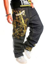 Transasia Men's Golden Graphic Printed Hipster Hip Hop Baggy Jeans Denim Pants