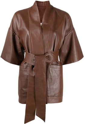 L'Autre Chose Wrap Leather Jacket