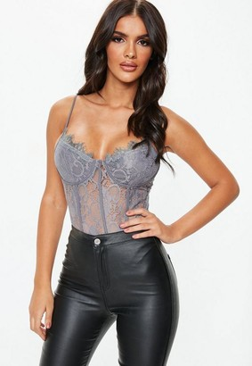 Missguided Grey Strappy Lace Cupped Bodysuit