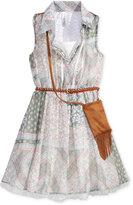 Beautees Chiffon Shirtdress & Bag Set, Big Girls (7-16)