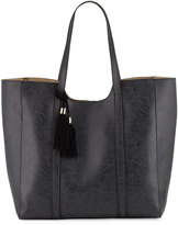Neiman Marcus Braided Tassel Faux-Leather Tote Bag, Black