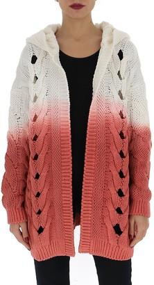 Saint Laurent Gradient Cable-Knit Hooded Cardigan