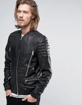 Allsaints Allsaints Leather Jacket With Multi Zip Pockets