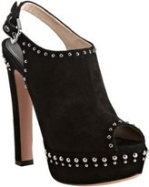 black suede studded peep toe slingbacks
