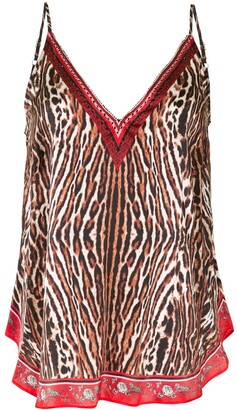 Camilla Pirate Punk-print silk top