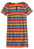 L.L. Bean Signature Split-Neck Knit T-Shirt Dress, Stripe