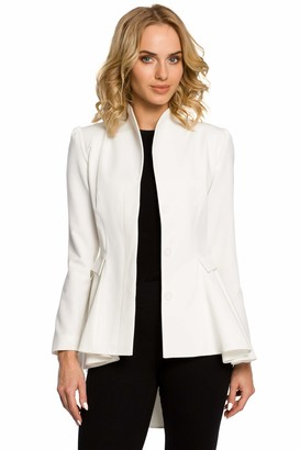 Moe   Made Of Emotion MOE - made of emotion Asymmetric Buttoned Tail Jacket with A Collar - Ecru 38 | M