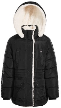 DKNY Toddler and Little Girls Puffer Coat with Faux Sherpa Lining