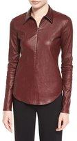 Theory Siox L Bristol Leather Top, Garnet