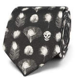 Alexander McQueen 6cm Peacock Feather-print Silk Tie - Black