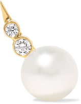 Sophie Bille Brahe Lulu 14-karat Gold, Pearl And Diamond Earring - one size