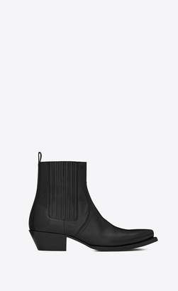 Saint Laurent Flat Booties Lukas Chelsea Boots In Kangaroo-look Leather Black 2.5