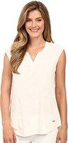 Calvin Klein Jeans Women's Short Sleeve Solid Henley T-Shirt