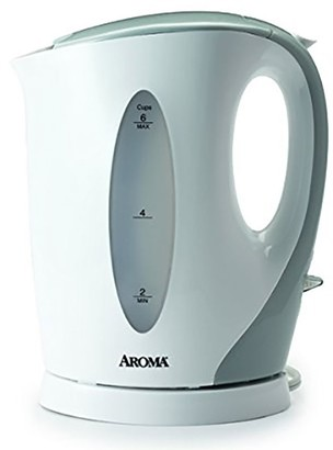 Aroma 1.7-Liter Electric Kettle, White/Gray