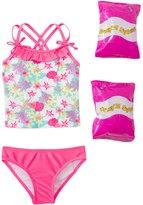 Jump N Splash Toddler Girls' Aloha Flower TwoPiece Swimsuit w/ Free Floaties (2T-3T) - 8143027