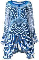 Mary Katrantzou ruffled semi-sheer asymmetric dress