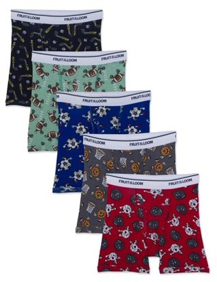 Fruit of the Loom Assorted Print Boxer Brief Underwear, 5 Pack (Toddler Boys)