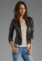 Vince Leather Shawl Collar Jacket