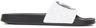 MICHAEL Michael Kors Gilmore Painted Monogram-print Faux Leather Slides