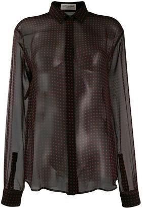 Saint Laurent Polka Dots Sheer Shirt