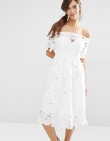 Boohoo Lace Bardot Skater Dress