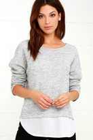 LuLu*s Keep Me Company Grey Sweater Top