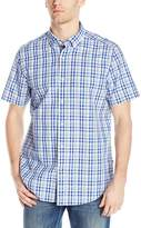 Nautica Men's Short Sleeve Poplin Multi Blue Plaid Shirt