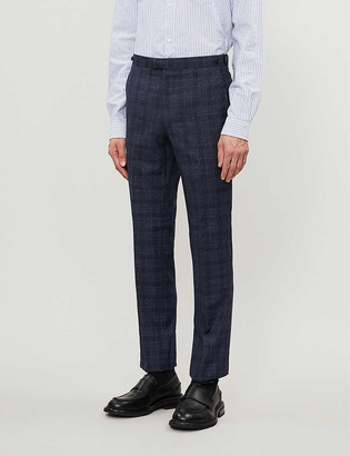 Reiss Bagley checked wool-blend suit trousers