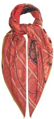 Etro Paisley-print Silk-chiffon Scarf - Red