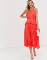 Asos Design DESIGN pleated halter neck midi dress with frill waist