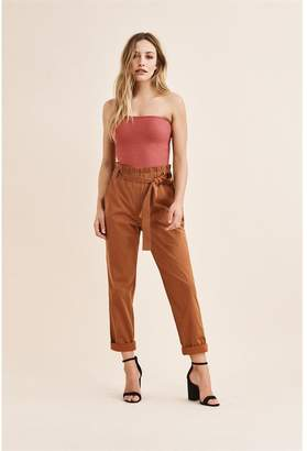 Dynamite Cindy Paperbag Cigarette Pant - FINAL SALE Salted Caramel Brown
