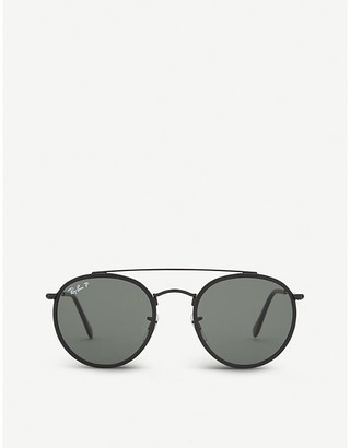 Ray-Ban Mens Black Classic Rb3647 Round-Frame Sunglasses