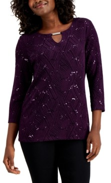 JM Collection Petite Sequined Jacquard Top, Created for Macy's