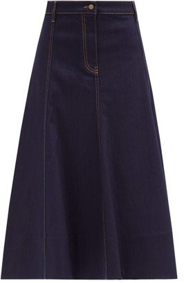 Valentino V-gold Plaque Denim Midi Skirt - Denim