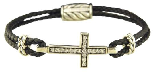 David Yurman 925 Sterling Silver Leather Gray Sapphire Pave Cross Bracelet
